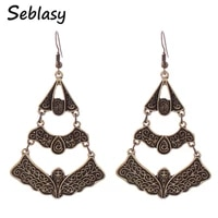 seblasy vintage turkish antique gold silver color geometric sector leaves dangle earrings for women accessories pendientes