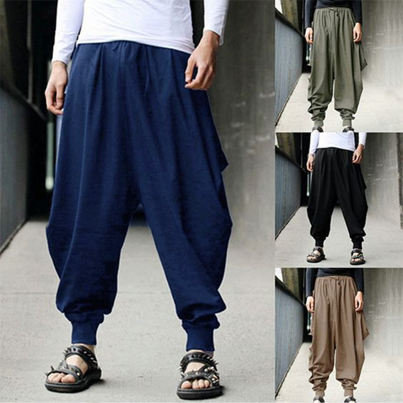 Hot Fashion Cotton Harem Pants Men Chinese Style Loose Joggers Trousers Man's Cross-pants Crotch Pants Wide Leg Baggy Pants Men