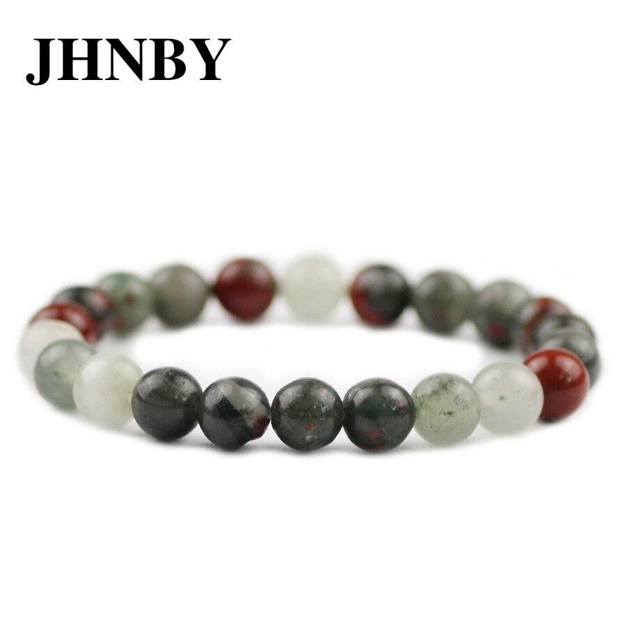 Pulseras de piedra de sangre Natural JHNBY con abalorio 6/8/10/12MM trenzado de la suerte/brazalete de cuerda elástica para hombres y mujeres joyas de cuentas regalo Dropship
