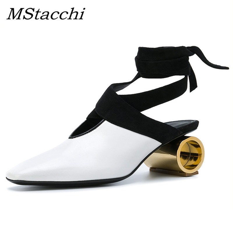 Сандалии MStacchi женские на каблуке с котятами, пикантные туфли на необычном каблуке-цилиндре с вырезами, вечерняя обувь из натуральной кожи с ...