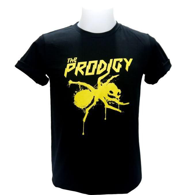 Camiseta de hombre con Logo amarillo prodigio DJ Punk Techno Dance Rave Big Beat Rock Sz estilo de manga corta con estampado de dibujos animados camiseta de hip-hop