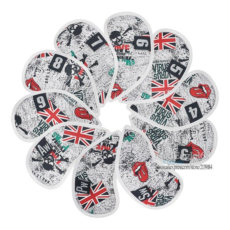 Cooyute nouveau couvre-chef de Golf drapeau britannique crâne avec fers de Golf couvre-tête unisexe crâne Clubs fers couvre-chef ensemble livraison gratuite