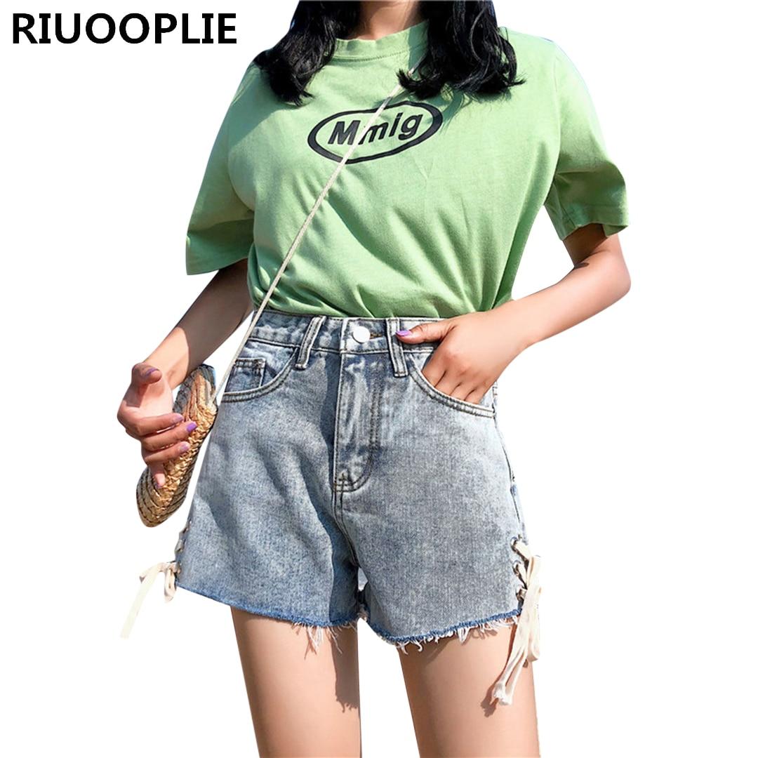 RIUOOPLIE mujeres sueltas de cintura alta decoración lateral recto pantalones cortos vaqueros de alta calle