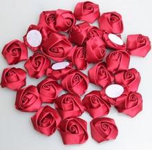 Rose rouge foncé diamètre 3.5Cm fait à la main   20 pièces/sac, ruban de fleurs en Satin pour faire soi-même le Bouquet de mariage, accessoires de fleurs, diy