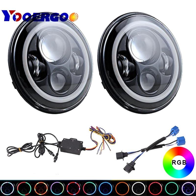 Bombilla de faros LED RGB negra de 7 pulgadas Halo Ojo de Ángel con control remoto Bluetooth para Lada 4x4 Urban Niva para Jeep Wrangler Hummer H1 H2