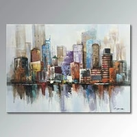 large hand painted oil painting on canvas new york cityscape architecture abstract oil painting wall art wall picture home decor