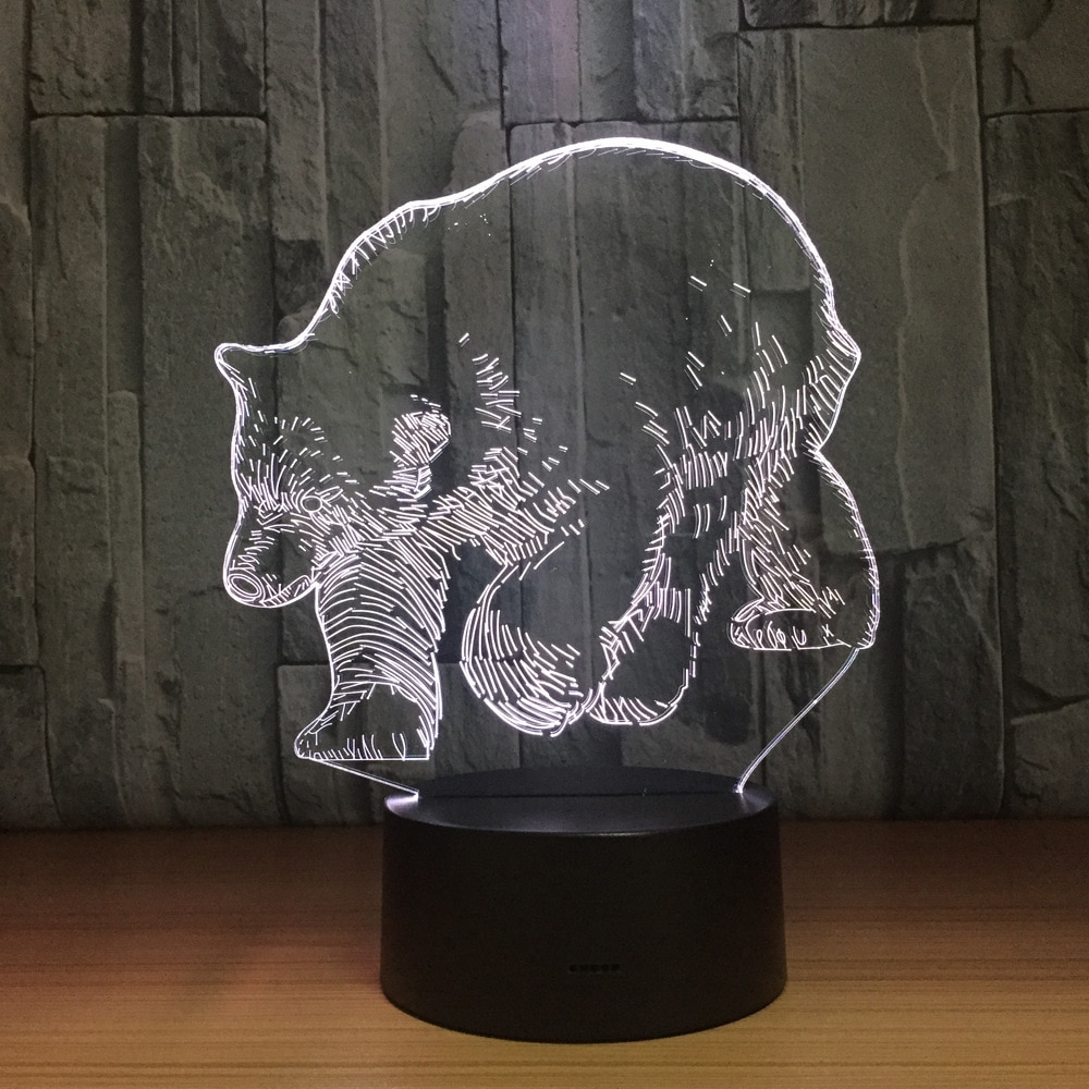 Полярный Медведь 3D Светодиодная лампа 5 в USB настольная лампа ночные светильники 3D 7 видов цветов меняющая свет лампа как Новогодний подарок ...