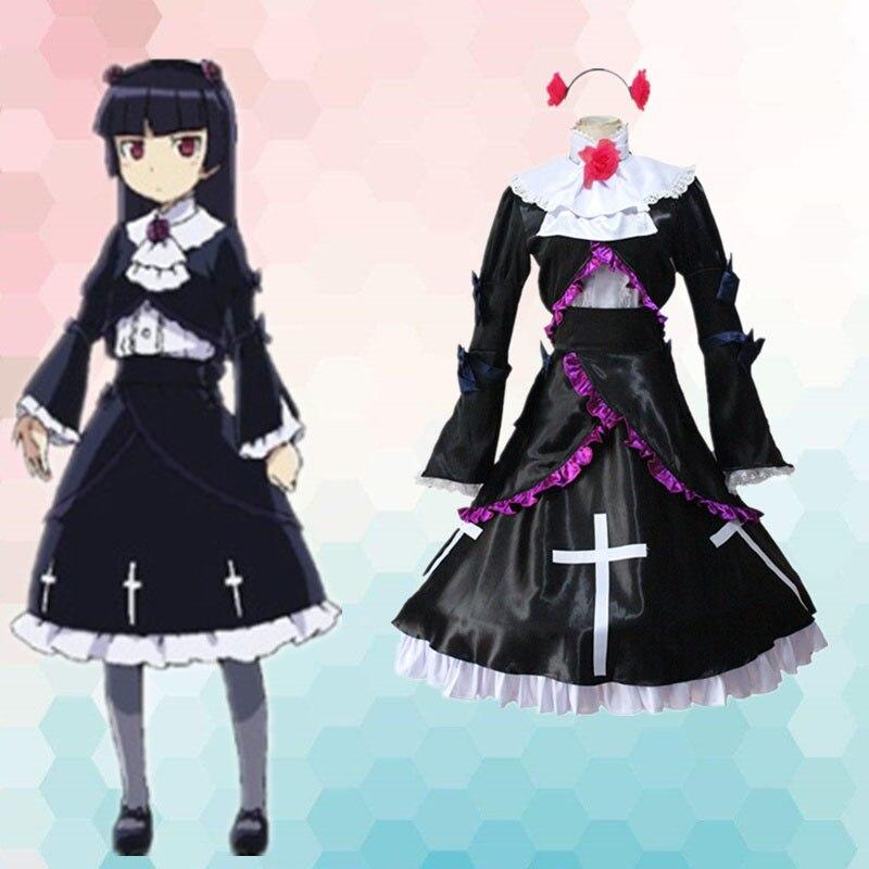 Mi hermana pequeña no puede ser este lindo Oreimo Kirino Gokou Ruri Kuroneko uniforme de sirvienta Cosplay conjunto completo vestido Lolita