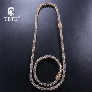 TBTK Iced Out Tennis Chain 5mm NE+BR Necklace Set for Women Cubic Zirconia Water Drop Luxury Jewelry Sets Gold Classic Man