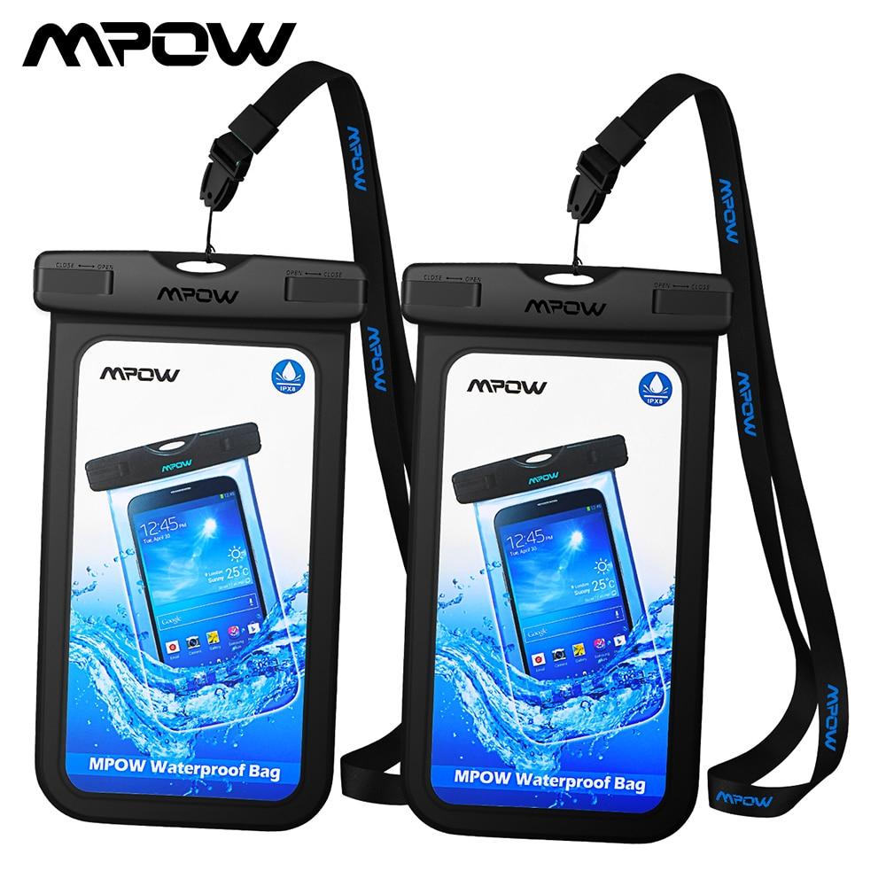 [2 pçs] mpow pa078 ipx8 universal à prova dwaterproof água caso do telefone bolsa para iphone x saco seco caminhadas dirtproof snowproof bolsa para xiaomi