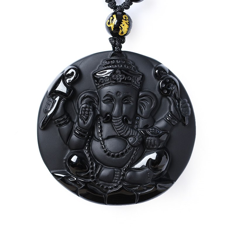 Venta caliente de alta calidad Obsidiana natural piedra collar con colgante de elefante Animal collar suéter cadena Jades de la joyería