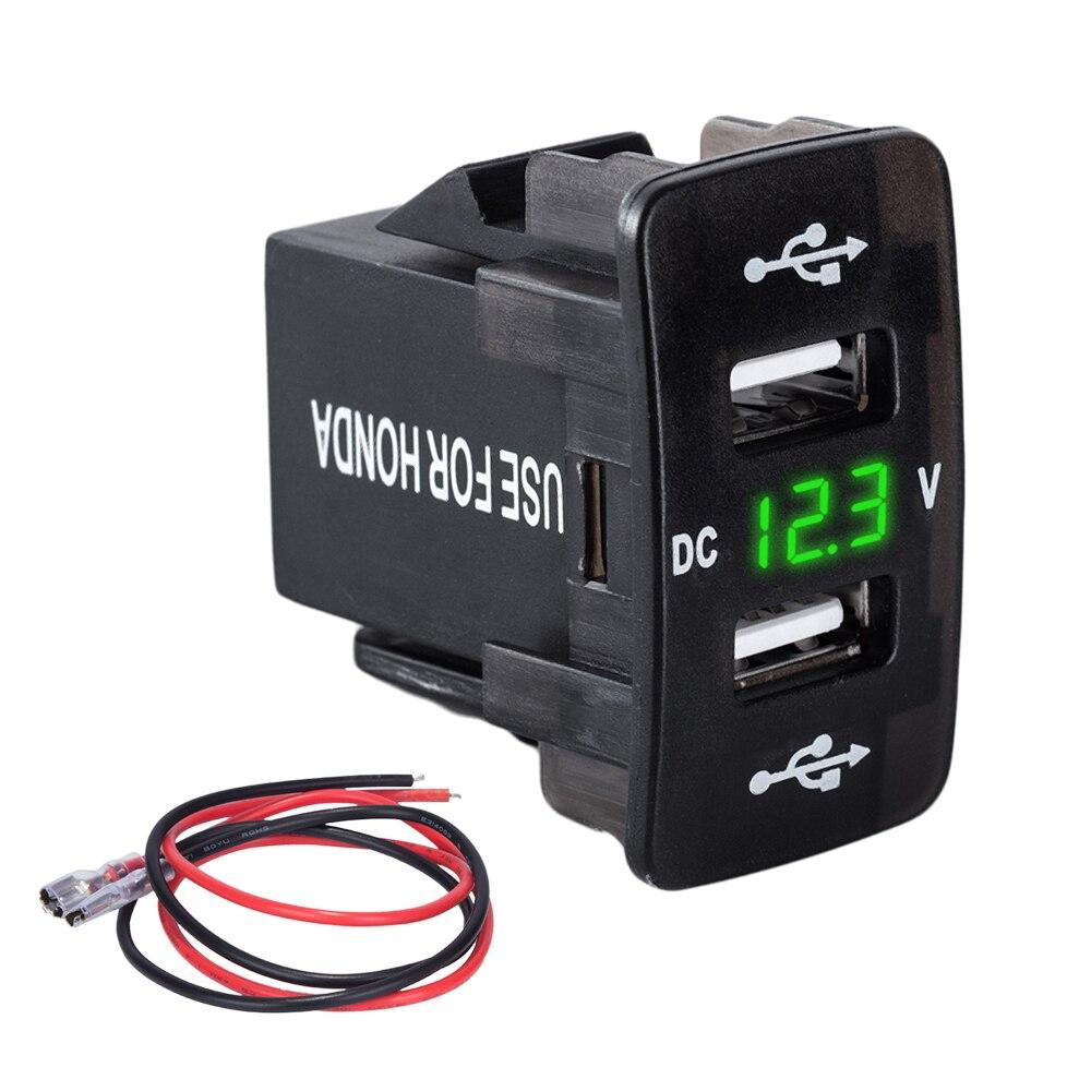 DC 12-24V For Honda Dual USB Port Car Charger Cigarette Lighter Socket Power Adapter with LED Digital Voltmeter Meter Monitor