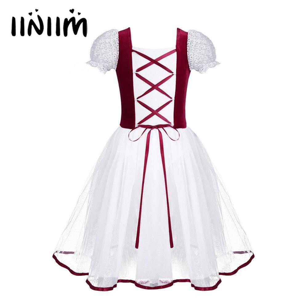 Iiniim, vestido de tutú de Ballet profesional para niñas, encaje de malla de terciopelo, mangas cortas de burbuja, vestido de leotardo de gimnasia para baile de Ballet