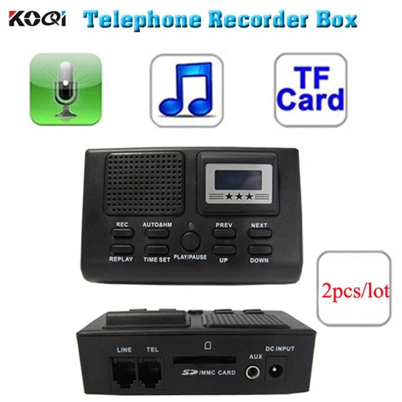 Gran oferta Digital Mini grabadora de voz teléfono llamada Monitor con pantalla LCD tarjeta SD de soporte