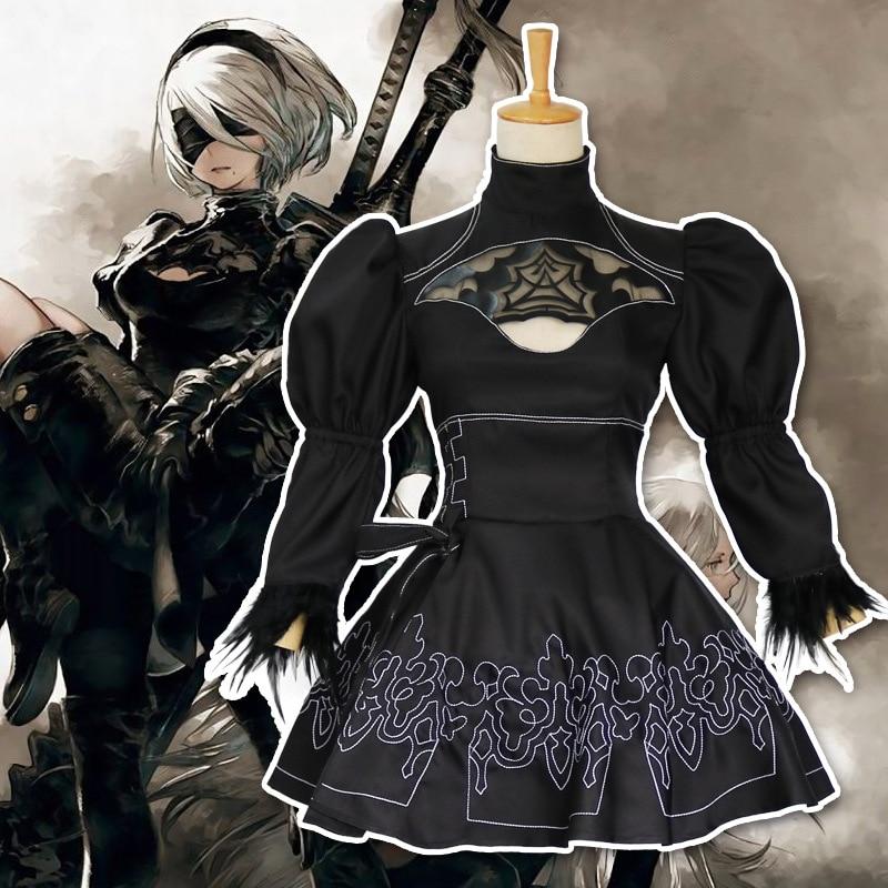 cosplay Costume Game Nier Automaten 2B Cosplay YoRHa No. 2 Type B Cosplay black dress Lolita set costume