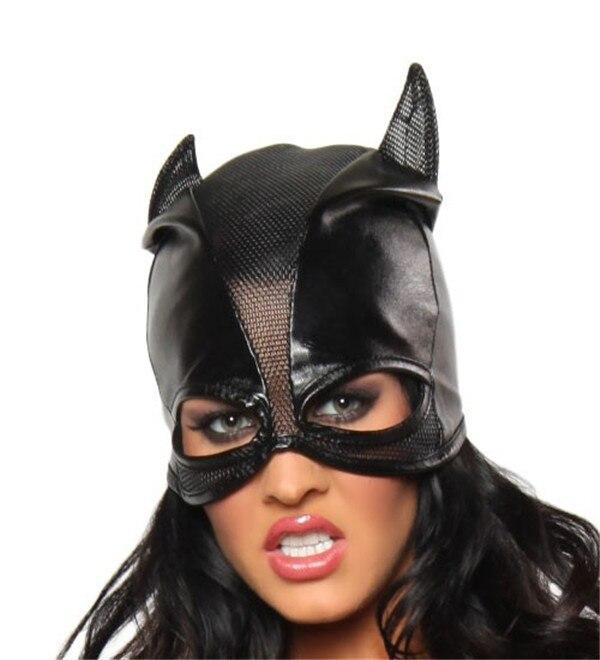 Pvc preto cat mulheres holloween máscara de cabeça de couro olhar molhado costume sexy lingerie cosplay