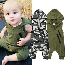 0-24M Bebê Meninos Meninos Bodysuit Macacão Sem Mangas Camuflagem Com Capuz Verde Do Exército Zíper Meninos Roupas de bebê Recém-nascido Camo Capuz camisolas