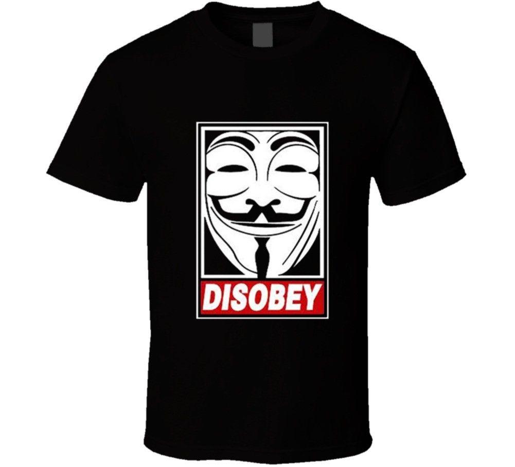 V for Vendetta Anônimo Guy Fawkes Máscara de Desobedecer Hacker T Shirt T-shirt Roupas de Marca Engraçado T-Shirt Top Tee