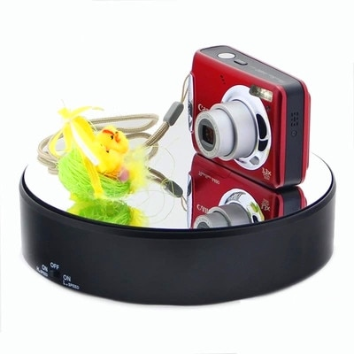 Glass mirror reflective 360 electric rotating display stand for camera phone watch jewelry 2 speed +5kg load