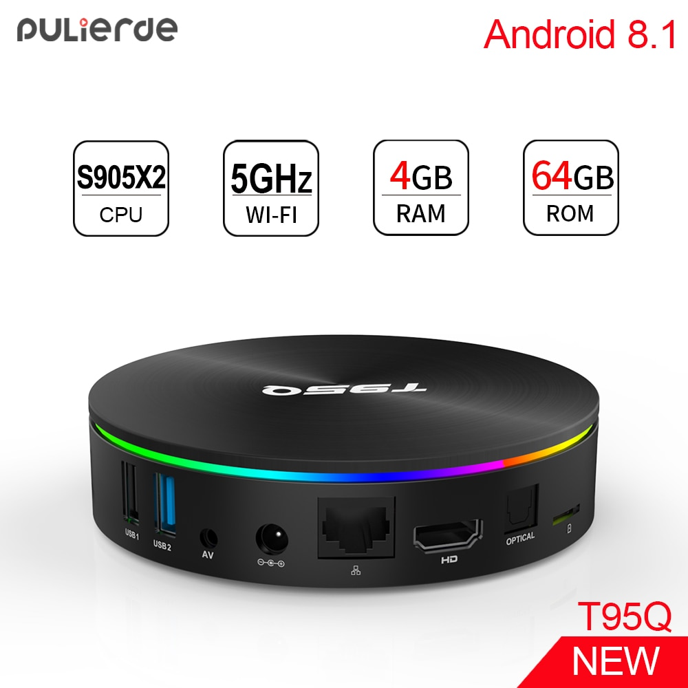 PULIERDE T95Q Amlogic S905X2 4GB 64GB Smart Android 9,0 caja de TV Bluetooth4.0 H2.65 4K 2,4 GHz/5 GHz WIFI Set-top BOX reproductor de medios