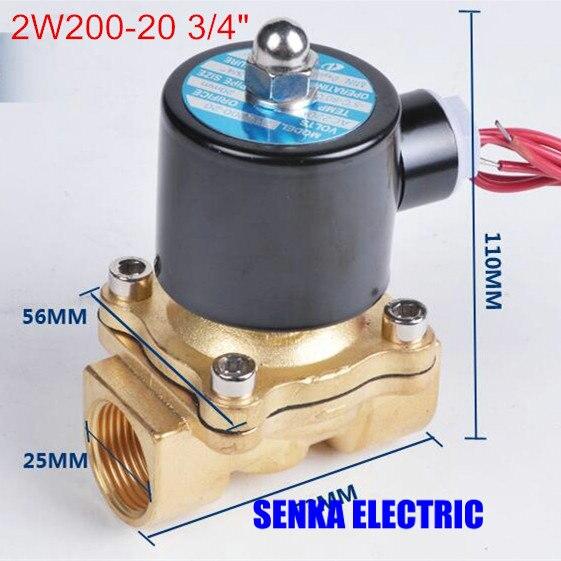 """2W200-20 3/4 """"2 Weg Magnet Kalben Gas Diesel Öl Normale Geschlossen Direkt Messing Ventil 220VAC 110VAC 24VDC 12VDC"""