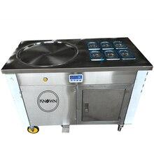 Machine commerciale frite de petit pain de crème glacée de casserole simple de crème glacée avec 1 casserole avec la machine de crème glacée de 6 seaux