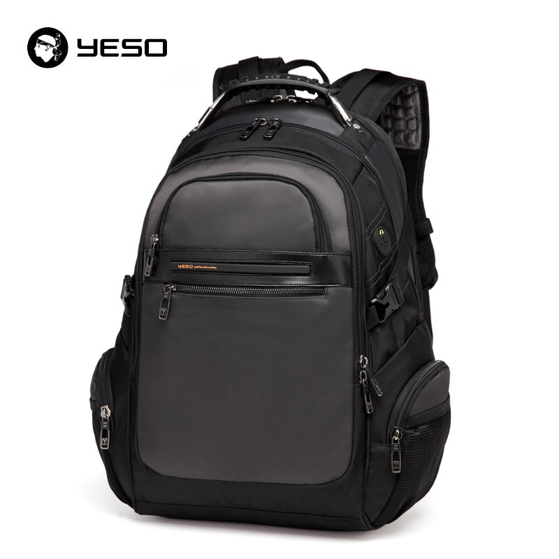 YESO جديد الرجال حقائب الكمبيوتر المحمول 2019 الأعمال عادية الظهر حزمة للمراهقين سعة كبيرة الأسود حقيبة ظهر للكمبيوتر الذكور Mochilas