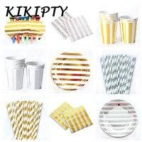golden silver stripe paper cupplatenapkin straws wedding birthday party decor baby shower party supply kids tableware supplies