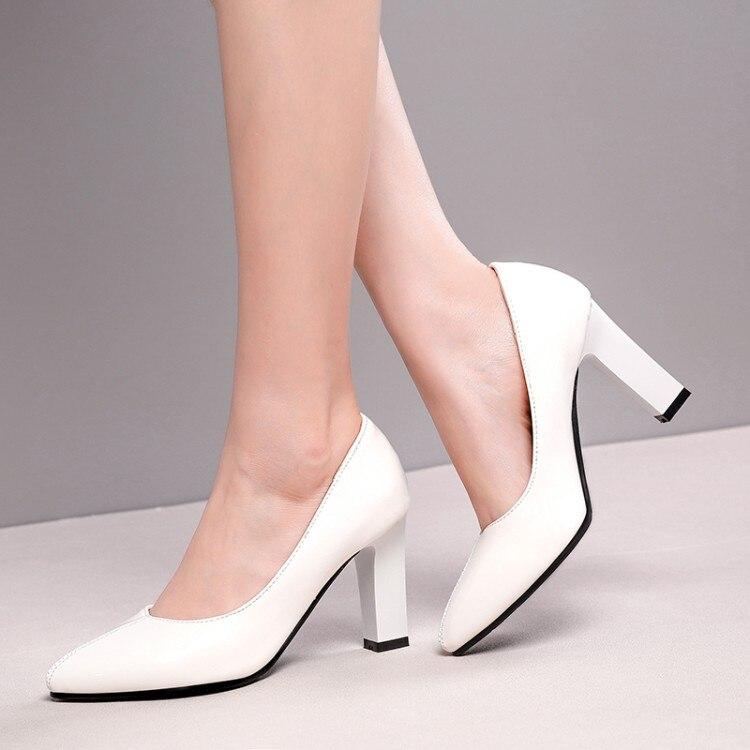 Tamanho grande 11 12 13 14 senhoras sapatos de salto alto mulher bombas pintadas rasas, de salto grosso, pontiagudos, sapatos de salto quadrado