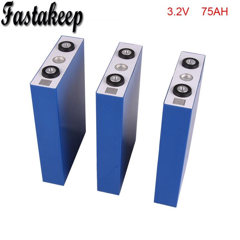 4 unids/lote 3,2 v 75ah batería recargable lifepo4 para sistema de almacenamiento de energía