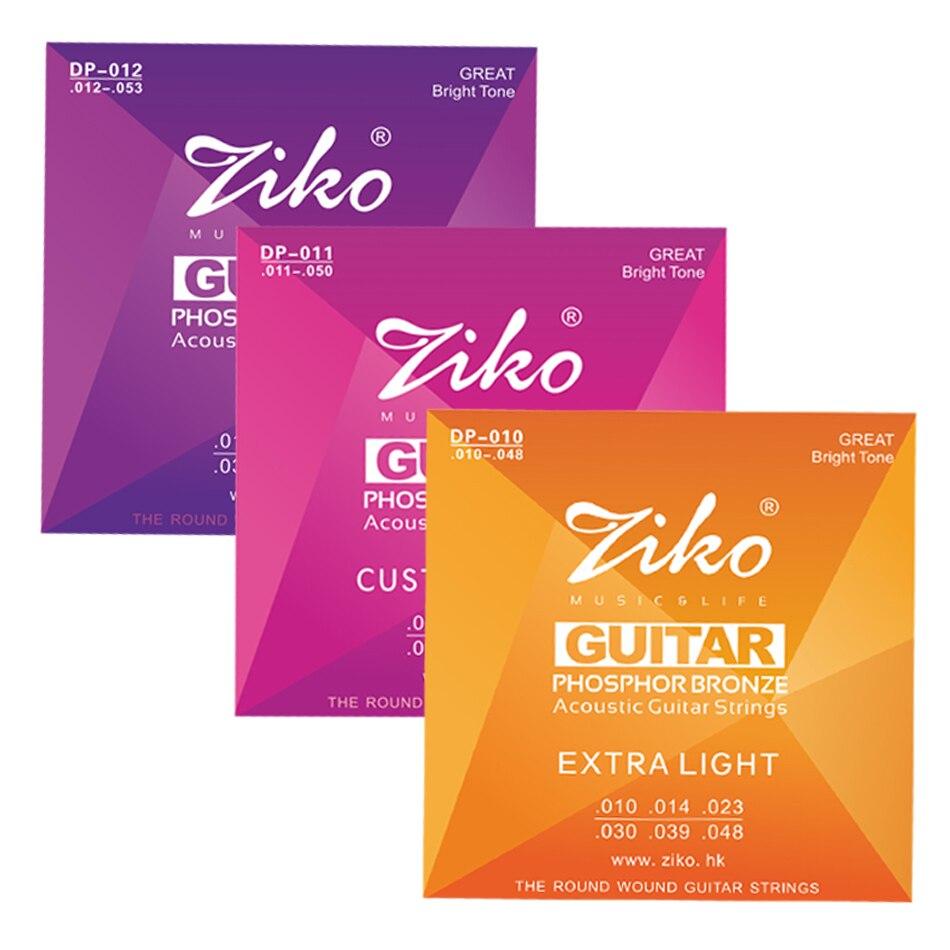 ZIKO DP Серия 1 набор Акустических Гитарных Струн 1st-6th 010-048011-050012-053 дюймовый шестигранный сплав ядро фосфорная бронзовая ранка