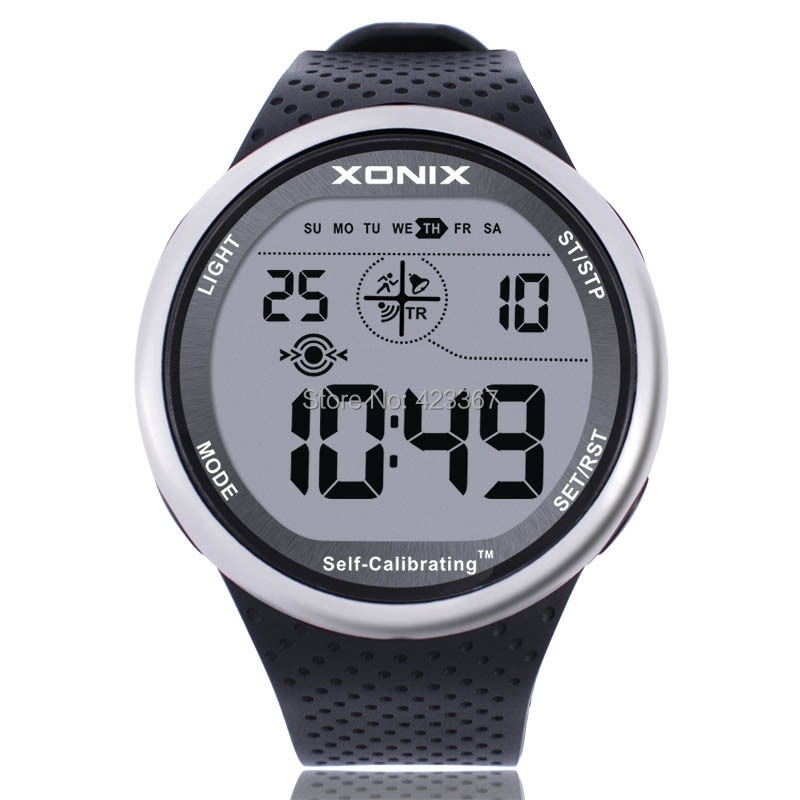 Mens Sports Watches Self Calibrating Digital Watch Waterproof 100m Multifunctional Swim Diver Outdoor Wristwatch