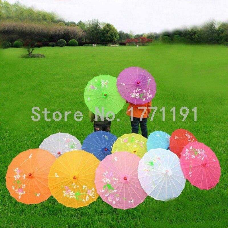 10pcs/lot Small size hand-painted flower design 10colors decorative Chinese Children umbrella Folk Art parasol