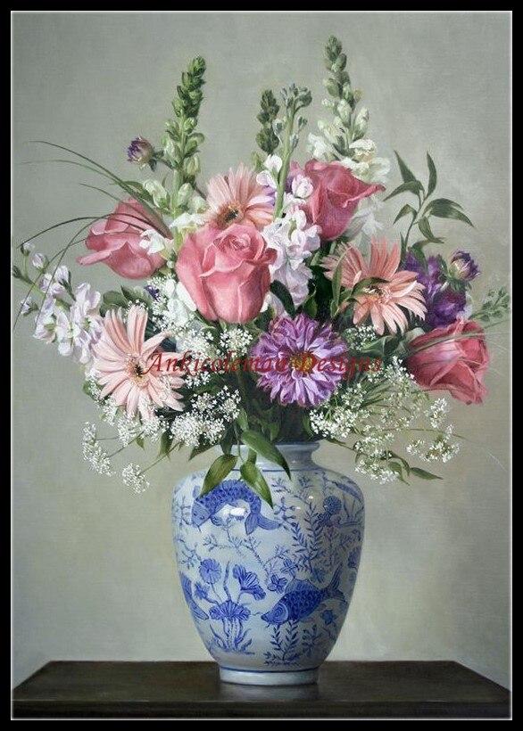 Набор для вышивки крестиком DMC, французский, рукоделие, высокое качество, 14 ct, картина маслом-китайская ваза