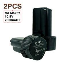 2 Pack 10.8 V 2000 mAh batterie doutils électriques sans fil pour Makita 2.0Ah BL1013 batterie Rechargeable Lithium ION LCT204 DF330D TD090D