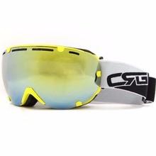 Professionnel ski Neige lunettes à double lentille anti-brouillard UV400 grand ski lunettes ski snowboard Lunettes Cadre JAUNE Cyan-bleu lentille