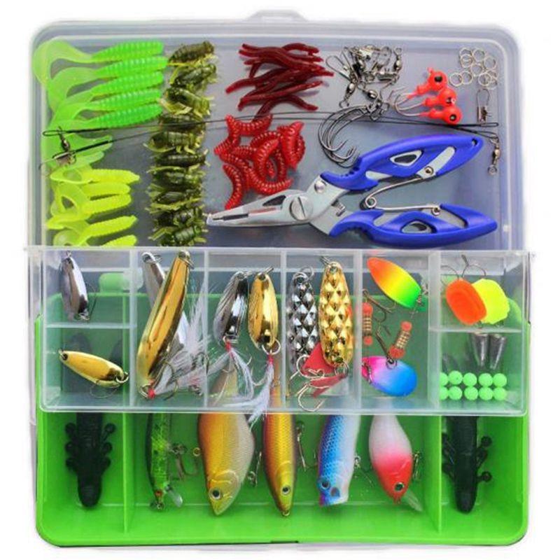 101 piezas atraer Kit Spinner Crankbait Minnow Popper VIB Paillette suave duro cuchara manivela cebos ganchos de pesca alicates Stosh pesca