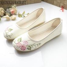 Zapatos de mujer nuevos viejos zapatos de tela de Pekín transpirable bordado de lino de algodón solo zapatos antideslizantes de viento nacional zapatos planos mm392