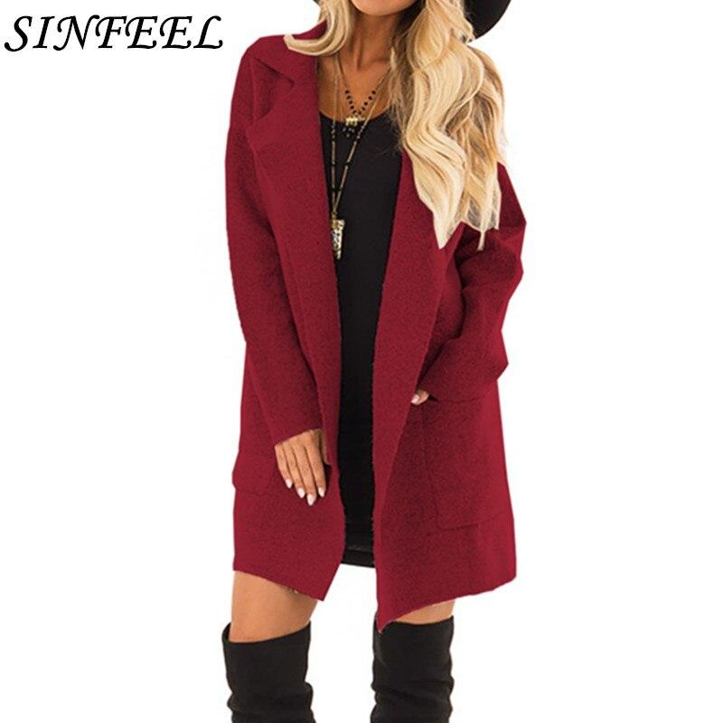 SINFEEL manteau femme 2018 otoño/invierno mujer abrigo de lana cálido de gran...