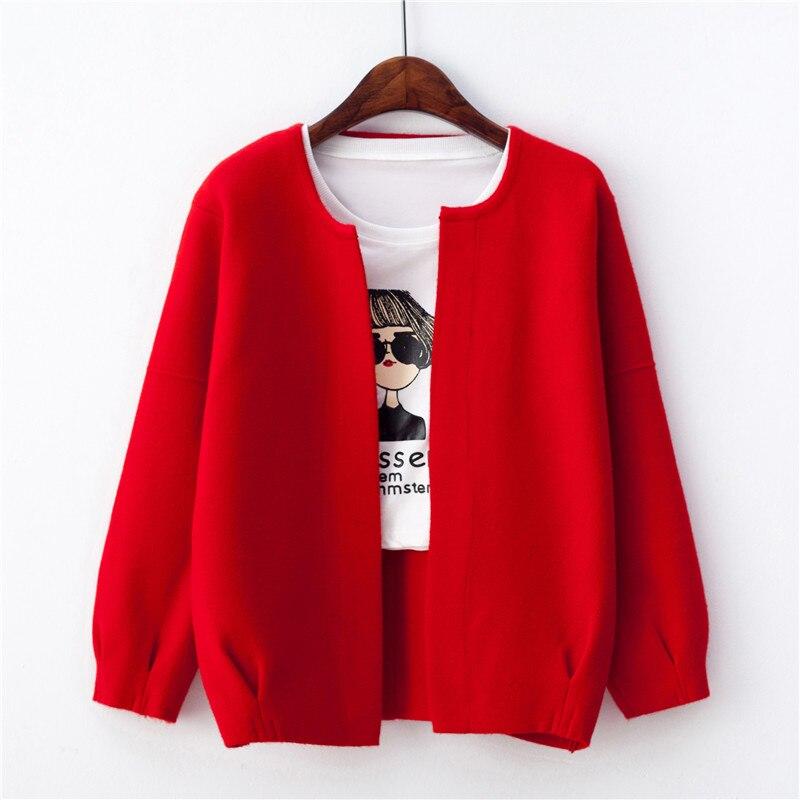 Chaqueta de punto de mujer nueva ropa de Otoño de primavera linterna de manga corta suéter Cardigan chaqueta Abrigos Mujer sólido Casual Tops 884