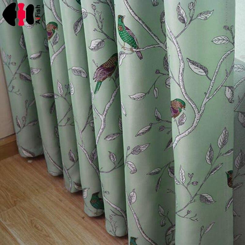 Pássaro azul impresso quarto do miúdo cortinas tratamento janela casamento conjunto de cortinas tecido com tule cortinas blackout wp128b
