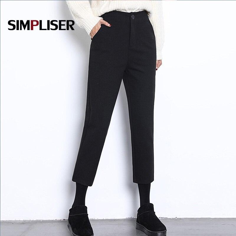 2018 nuevos Pantalones de mujer hasta el tobillo pantalones Capri negro a cuadros gris pantalones de trabajo de oficina de mujer de cintura media Pantalon