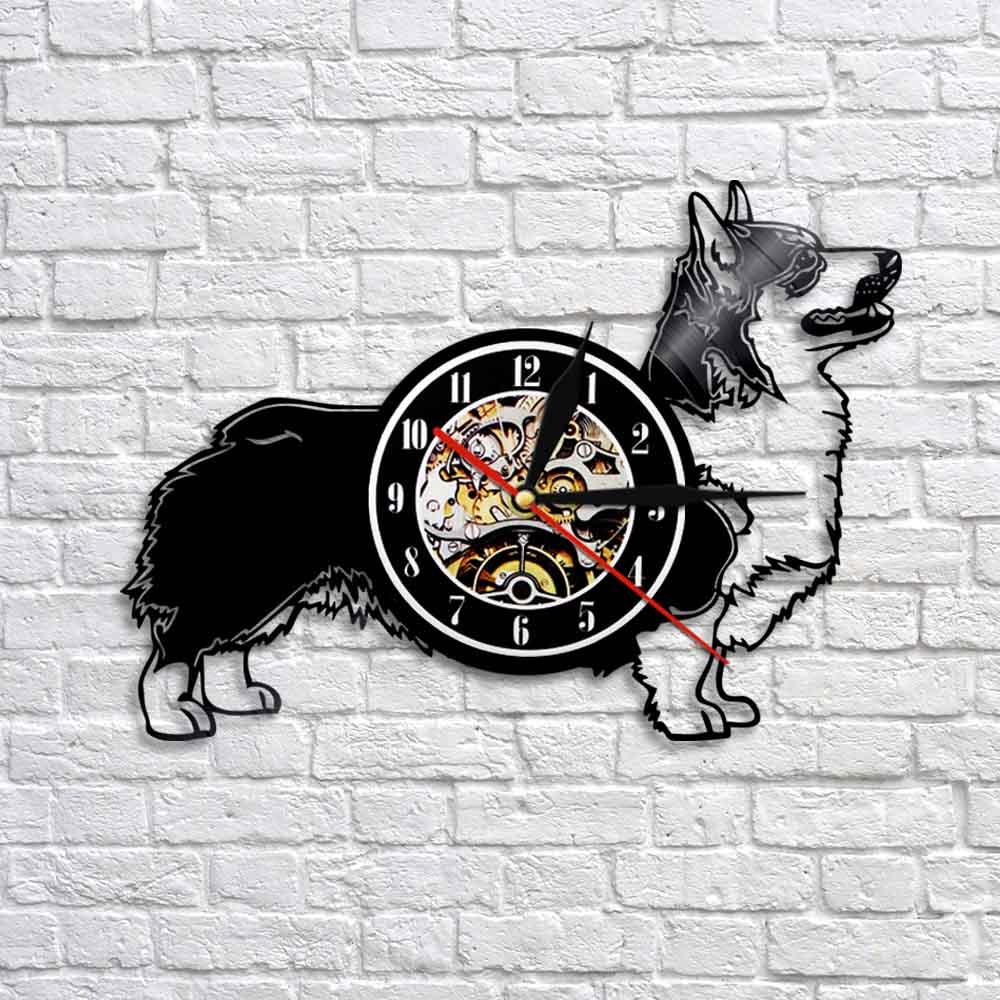 Cárdigan de Corgi Galés para perro, reloj de pared creativo de vinilo para cachorros, reloj de 12 pulgadas de cuarzo, relojes de regalo para amantes de las mascotas