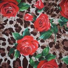 Leopard rose digitale malerei chaos satin stoff für kleid telas por metros tissu au meter tissus tecido tela shabby chic tecidos