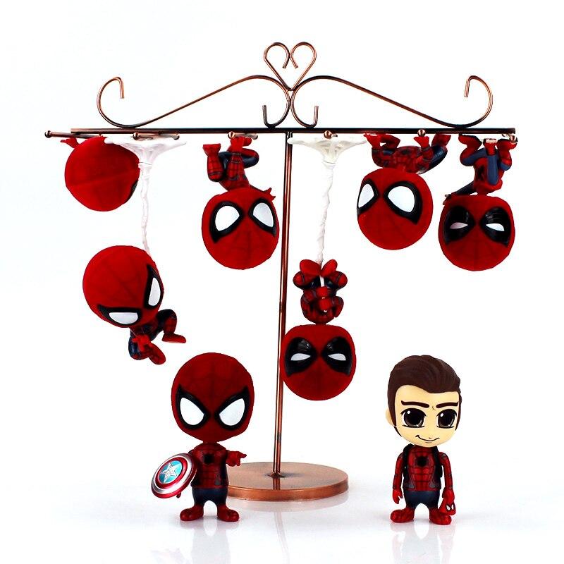8styles The Super hero Spiderman Q Version Mini PVC Figures Toys Spider Man keychain Car Home Decoration Doll