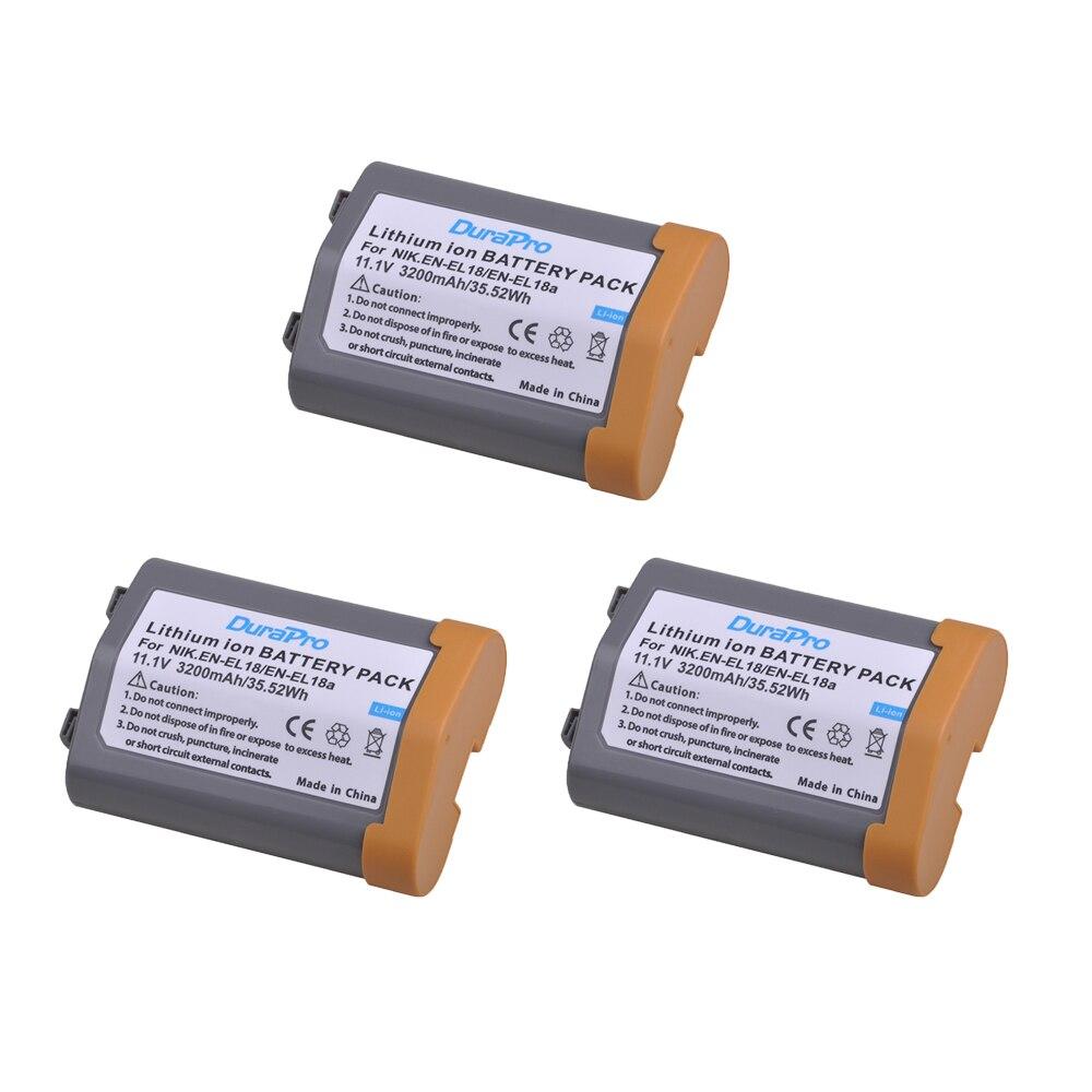3 baterías de Li-ion EN-EL18 EN EL18 ENEL18 de 3200mAh para Nikon D4, D4S, D5 cámaras para Nikon MB-D12, D800, D800E