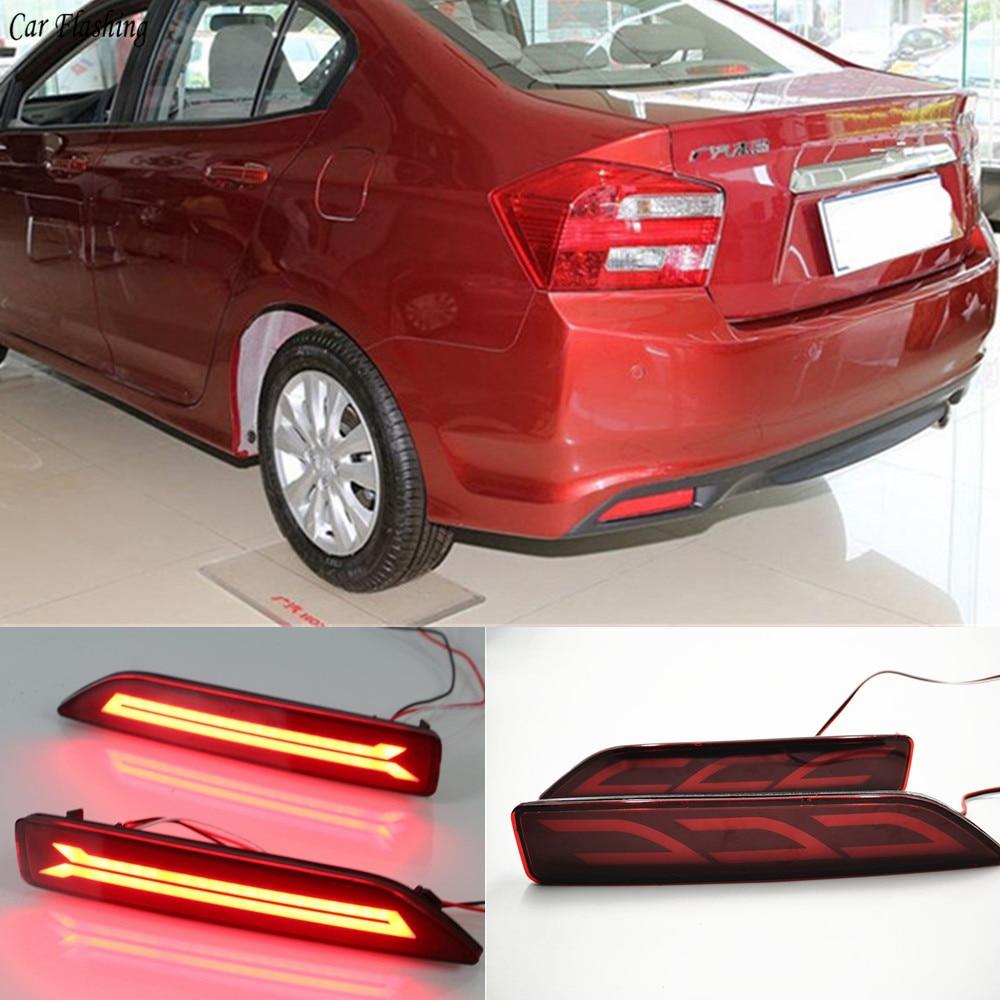 Faro Reflector LED multifunción intermitente para coche 2 uds. Faro antiniebla trasero para Honda City 2012 2013 2014