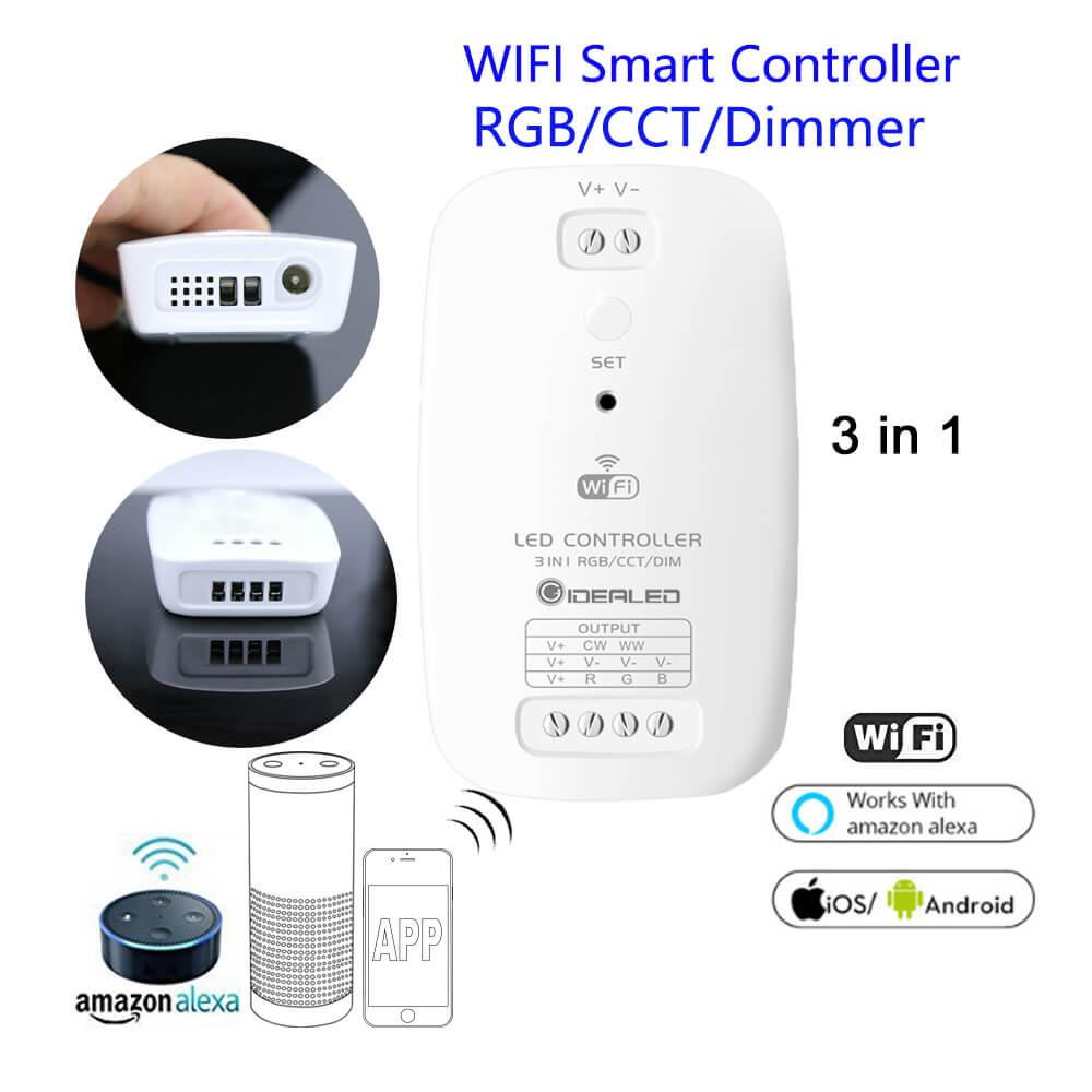 Wifi inteligente Controlador LED teléfono APP RGB CCT Dimmer 3 en 1 de controlador por Amazon Echo más Alexa Google Control de voz