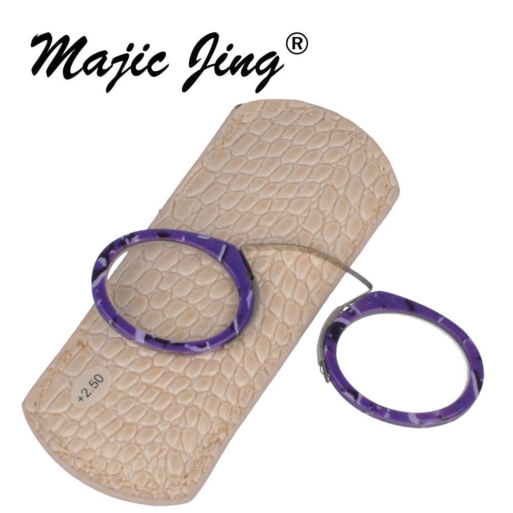 Magia Jing ROXO COR aro completo óculos de leitura MINI + 100 ~ + 400 com capa de couro