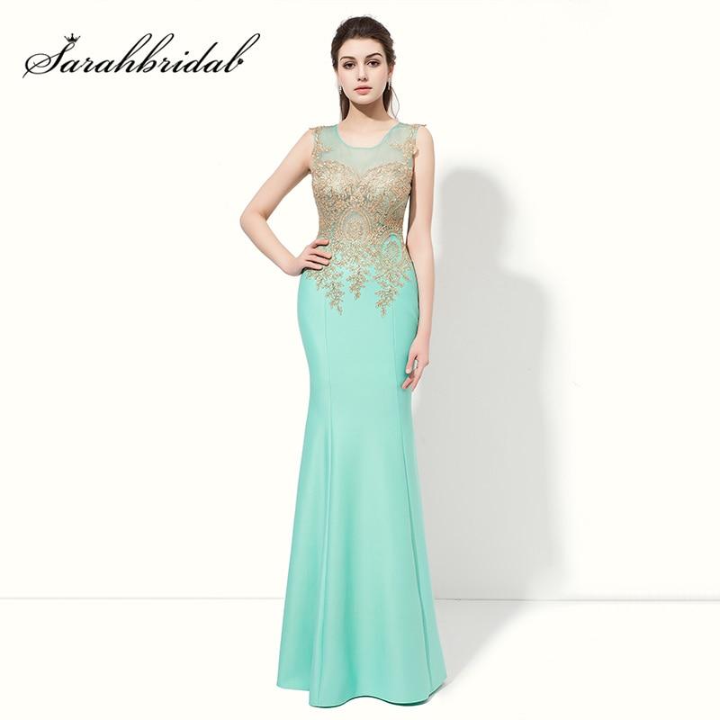 Günstige Goldene Appliques Lange Meerjungfrau Prom Kleider Sexy Illusion Mieder Abend Party Kleid Mint Ärmelloses Gala Kleid LX412